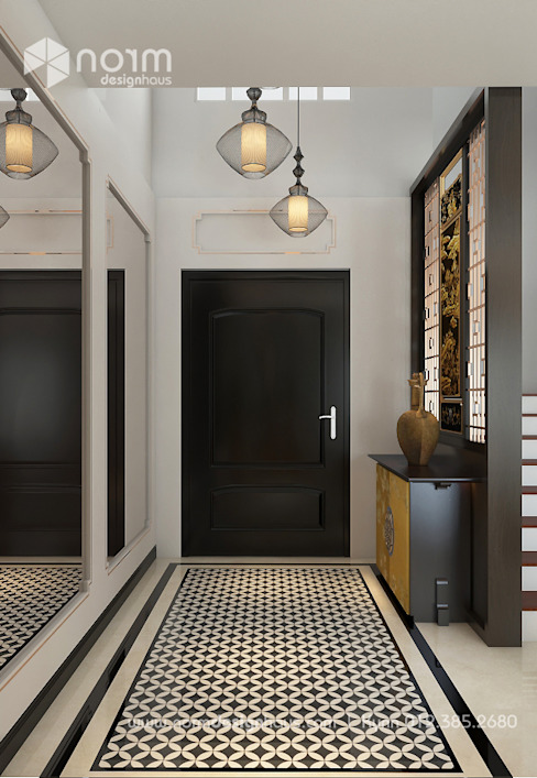 Pavilion Hilltop, Indochine Style Asian corridor, hallway & stairs by Norm designhaus Asian