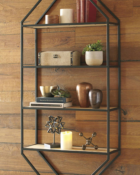 Repisa minimalista excelente para sala, corredor o habitación Muebles de Herrería y Madera Paredes y pisosDecoración de paredes Hierro/Acero Negro