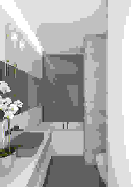 """Квартира в ЖК """"Смольный проспект"""" background архитектурная студия Ванная комната в стиле минимализм Белый"""