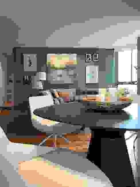 Mesa casi redonda Salones de estilo moderno de A interiorismo by Maria Andes Moderno Madera Acabado en madera