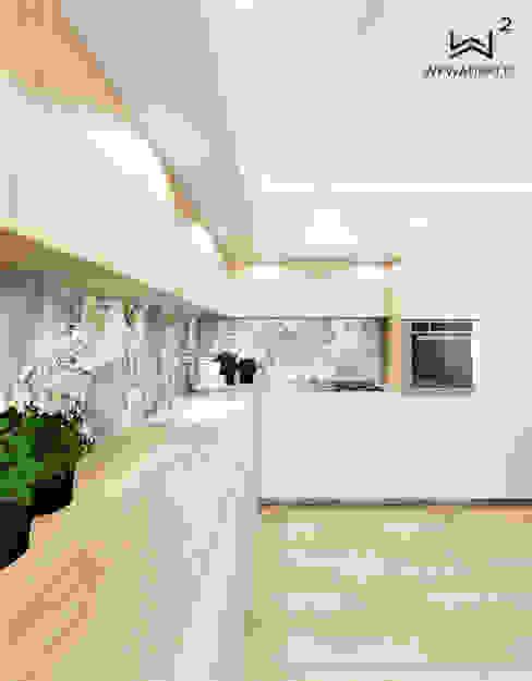 Kuchnia Wkwadrat Architekt Wnętrz Toruń Aneks kuchenny Płytki O efekcie drewna