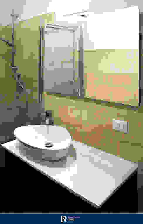 Bagno zona giorno Francesca Rubbi Architecture Bagno moderno Ceramica Beige