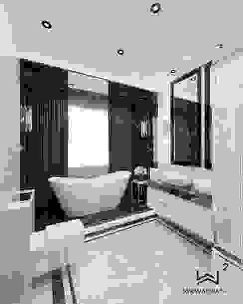 Wkwadrat Architekt Wnętrz Toruń Modern style bathrooms Stone Black