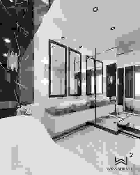 Wkwadrat Architekt Wnętrz Toruń Classic style bathrooms Stone White