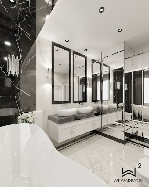 Wkwadrat Architekt Wnętrz Toruń Salle de bain classique Pierre Blanc