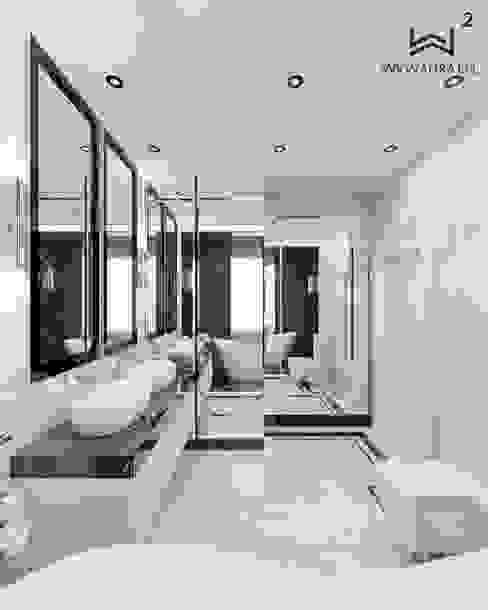Wkwadrat Architekt Wnętrz Toruń Classic style bathrooms Stone Black