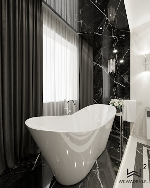 Wkwadrat Architekt Wnętrz Toruń Modern style bathrooms Glass Metallic/Silver
