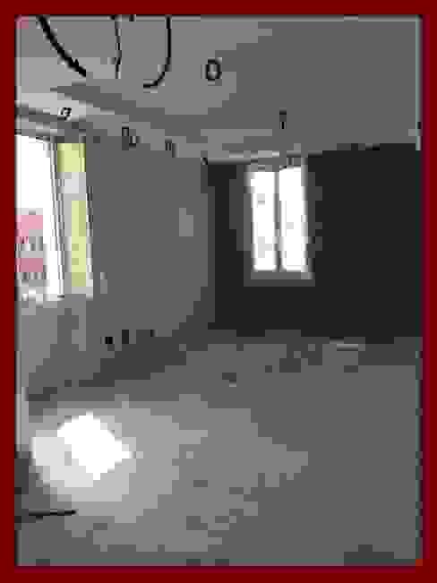 """FOTO12 """" post operam cappotto interno """" architetto Manfredi Pareti & Pavimenti in stile minimalista Cemento Blu"""