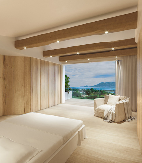Lussuosa camera con vista mare Architetto Alessandro spano Camera da letto in stile mediterraneo Legno