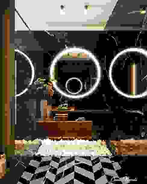 Banheiro Social Camila Pimenta | Arquitetura + Interiores Banheiros modernos Mármore Preto