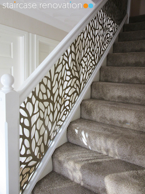 Laser cut balustrade infill panels replacing wooden spindles Staircase Renovation Trap Metaal