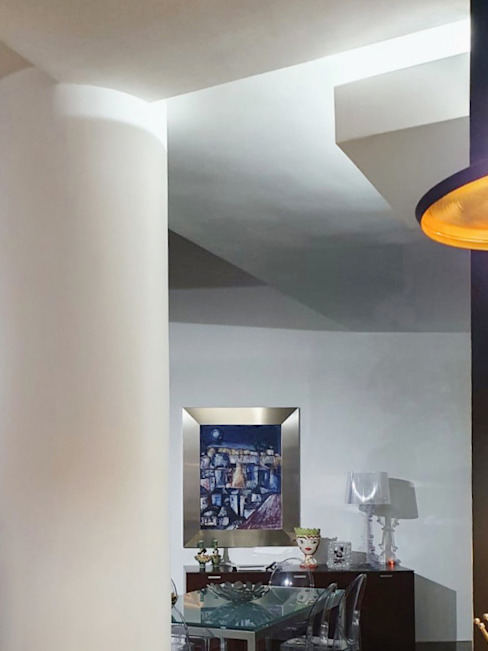 from the kitchen to the living room MEF Architect Moderne eetkamers Metaal Wit
