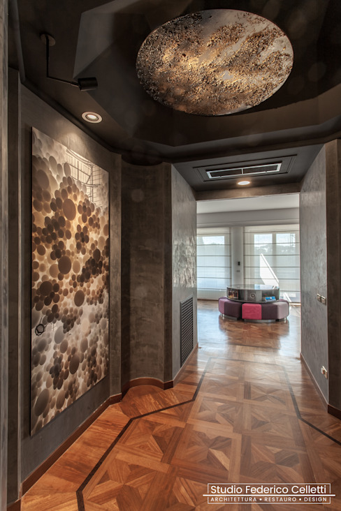 Studio Celletti Architetti Modern Corridor, Hallway and Staircase Copper/Bronze/Brass Amber/Gold