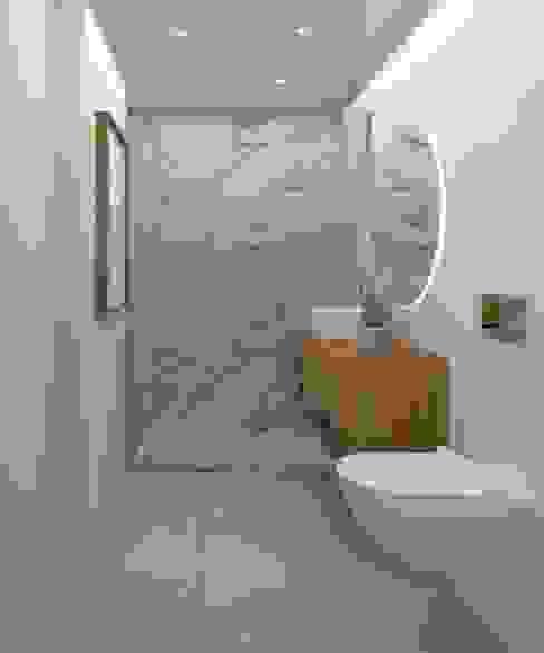 Casa de Banho Social_Proj. Paio Pires Ginkgo Design Studio Casas de banho modernas Cerâmica Branco