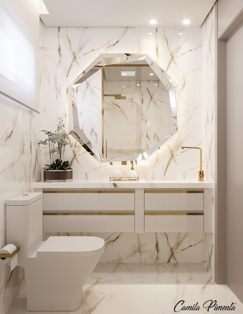 Banheiro Master Camila Pimenta | Arquitetura + Interiores Banheiros modernos Pedra Branco