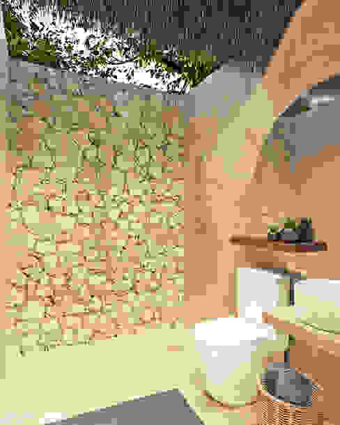 Baño Bungalow. Heftye Arquitectura Baños rústicos Caliza Beige