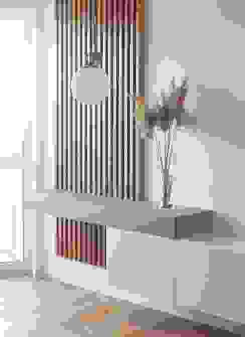 Consolle in legno realizzata su misura - dettaglio Architettura_Sostenibile Soggiorno in stile scandinavo Legno massello Effetto legno