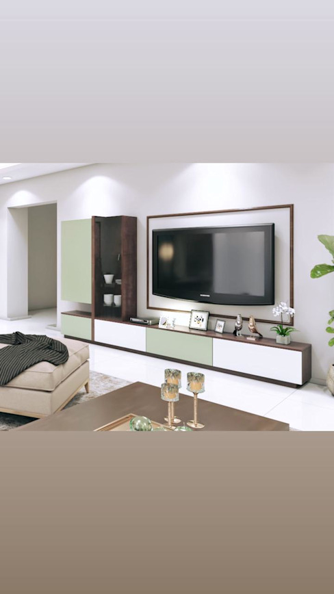 Tv Unit in living room with tower storage Lakkad Works Modern living room