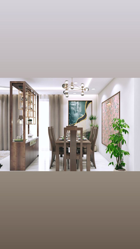 Wooden Dining table with long back chairs Lakkad Works Modern dining room
