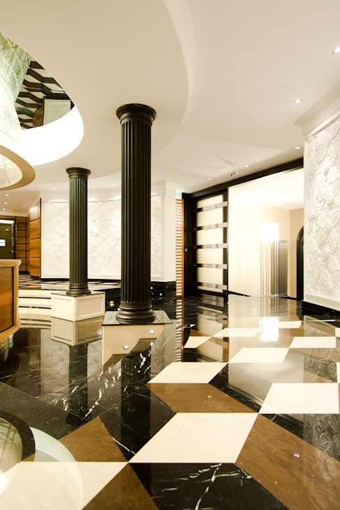 Curved reception desk in walnut, doric columns in black lacquered wood, Boiserie and sunblinds in colored walnut, white lacquered Boiserie with floral-themed inlays, custom chandelier in steel and beveled crystals above a reception desk, 3D Marble Tognini Bespoke Furniture Walls & flooringWall & floor coverings Wood White