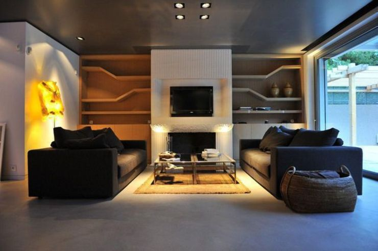 Spachtelböden im Innenbereich - Betonoptik Industriale Wohnzimmer von Fugenlose mineralische Böden und Wände Industrial