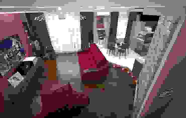Кухня-гостиная с красным акцентом Гостиная в стиле модерн от Гурьянова Наталья Модерн