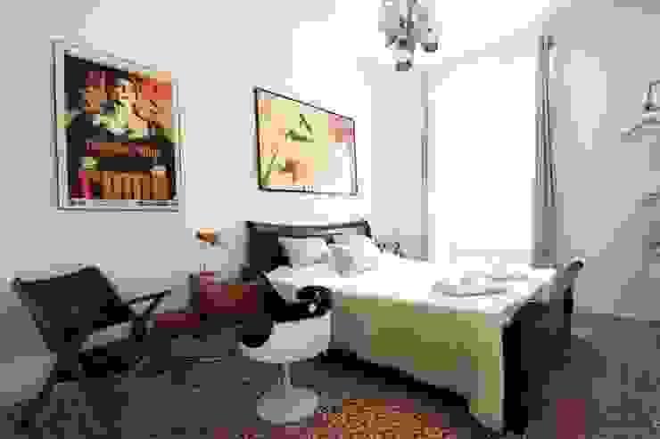 Aranżacje płytek cementowych w pokojach Śródziemnomorska sypialnia od Kolory Maroka Śródziemnomorski