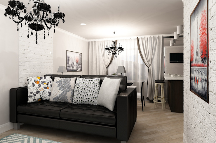 Черно белое настроение Гостиная в стиле лофт от Алёна Демшинова Лофт