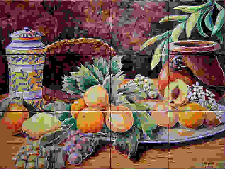 Frutas y flores con cerámica, mimbre y cobre de Angulo Ceramic Art Rústico