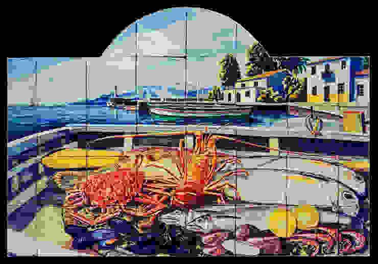 Pescados y mariscos en una barca de Angulo Ceramic Art Rústico
