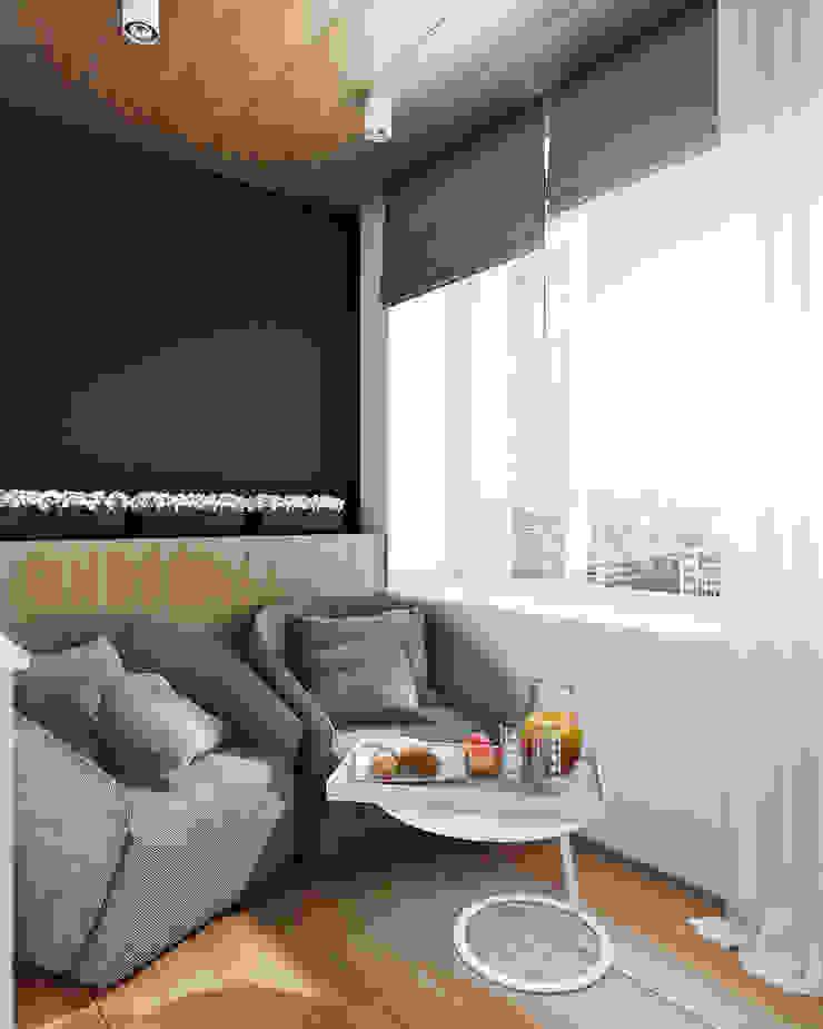 Minimalist balcony, veranda & terrace by Angelina Alekseeva Minimalist