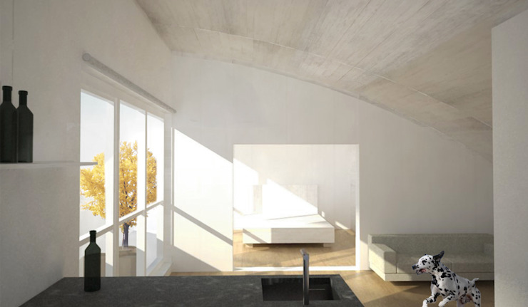 Umbau Dachgeschosswohnung, München Salones de Brut Deluxe Architecture + Design