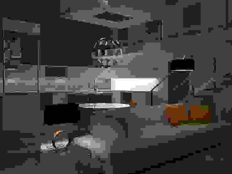 Imagen de cocina y parte de zona destinado a descanso. Cocinas de estilo moderno de MUMARQ ARQUITECTURA E INTERIORISMO Moderno