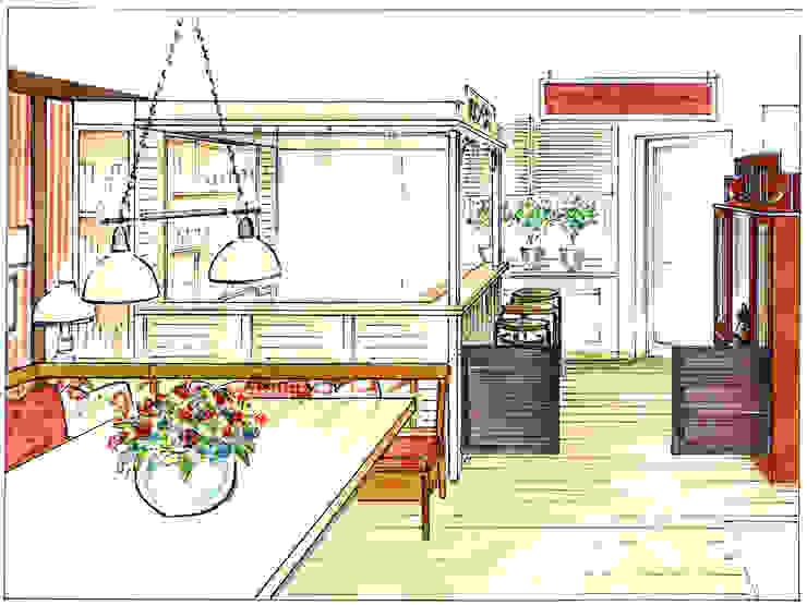 Perspektive der Westernsaloonbar Kinderzimmer im Landhausstil von Innenarchitektin Claudia Haubrock Landhaus
