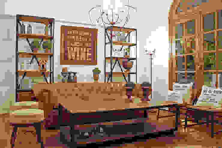 Living-room hierro y madera + chesterfield en cuero de Estación Ortiz Rústico