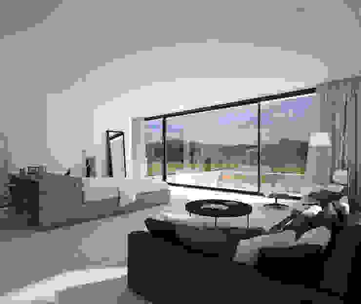 Proyecto de Vivienda Unifamiliar Salones de estilo moderno de DUE Architecture & Design Moderno