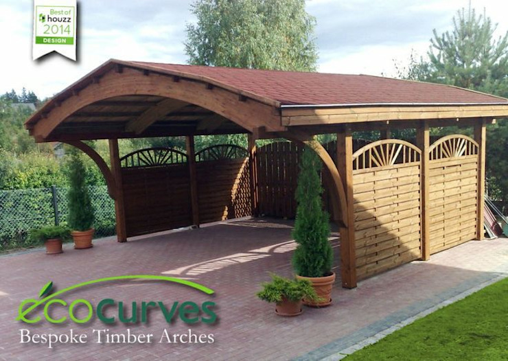 Carports using glulam curves Jardines de EcoCurves - Bespoke Glulam Timber Arches