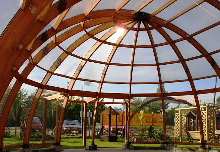 ​Office construction EcoCurves - Bespoke Glulam Timber Arches สวน
