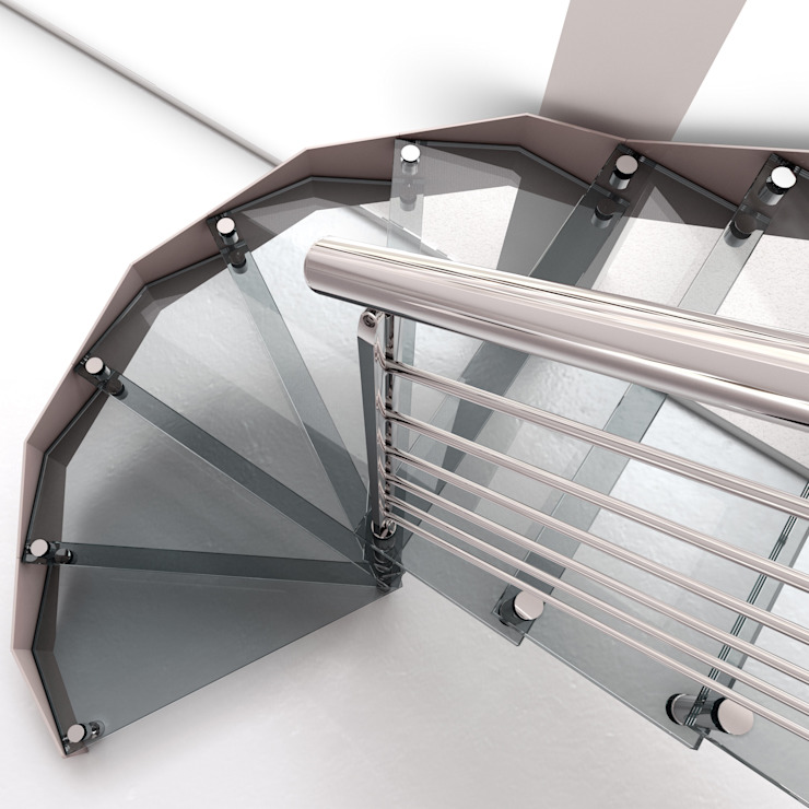 Escalera a tramos en acero Inox y Cristal de Enesca Moderno