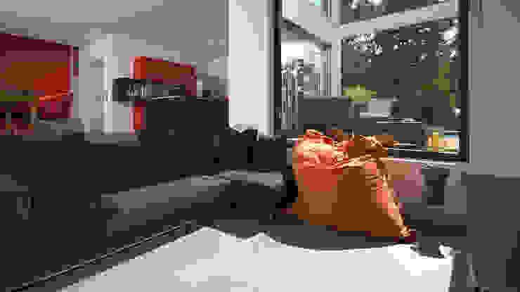 BAUHAUS VILLA MIT AUSSENPOOL Moderne Wohnzimmer von b2 böhme BAUBERATUNG Modern