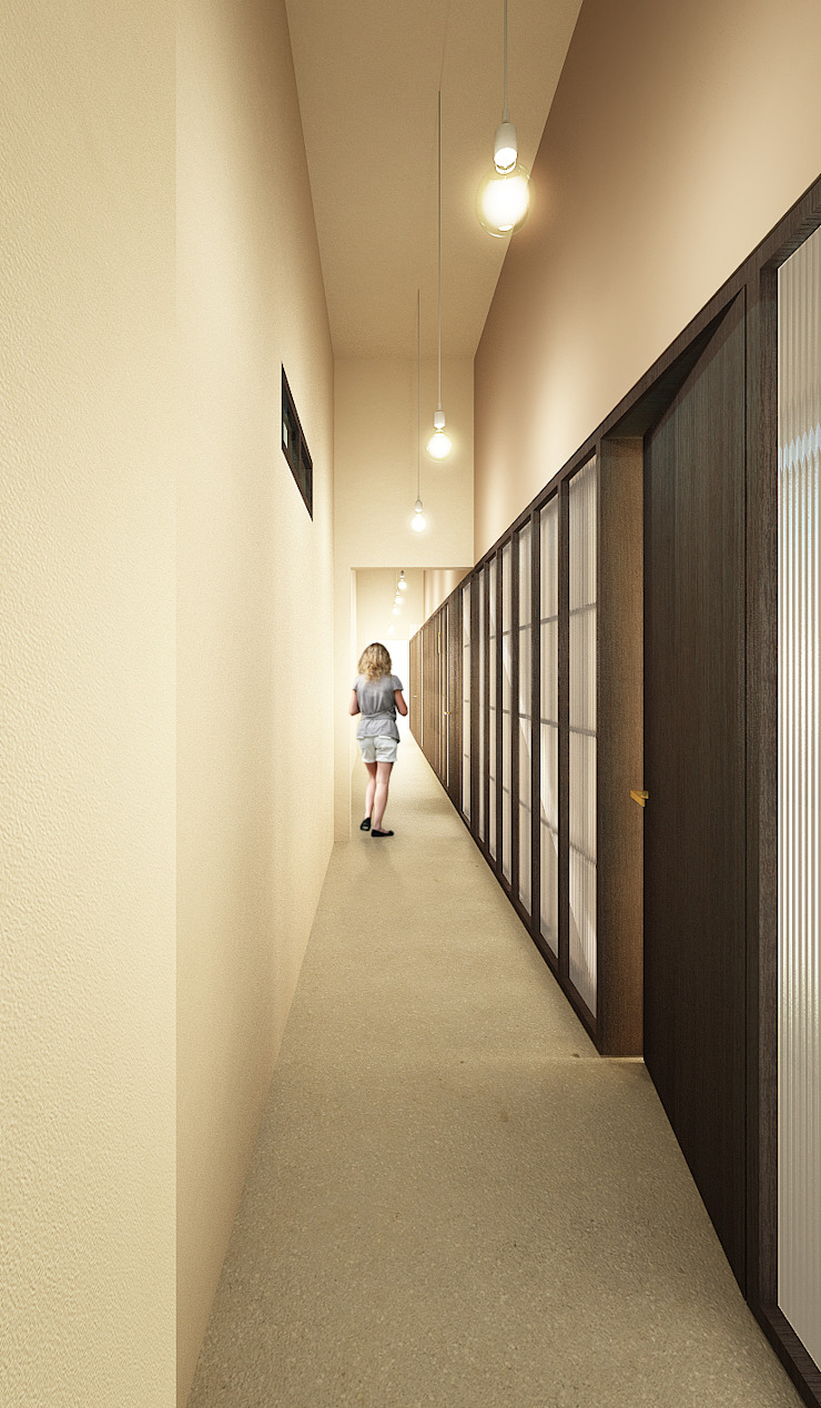 Modern corridor, hallway & stairs by QBatelier + FèRiMa Modern