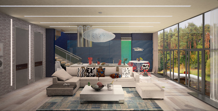 Salas de estar modernas por Гурьянова Наталья Moderno