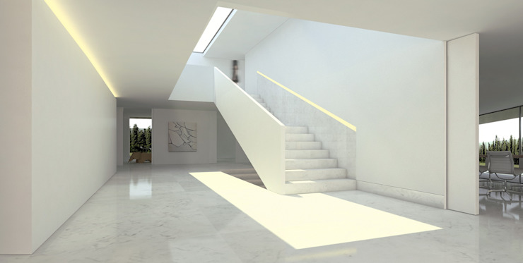 Casa de Aluminio. Fran Silvestre Arquitectos Pasillos, vestíbulos y escaleras de estilo minimalista de FRAN SILVESTRE ARQUITECTOS Minimalista