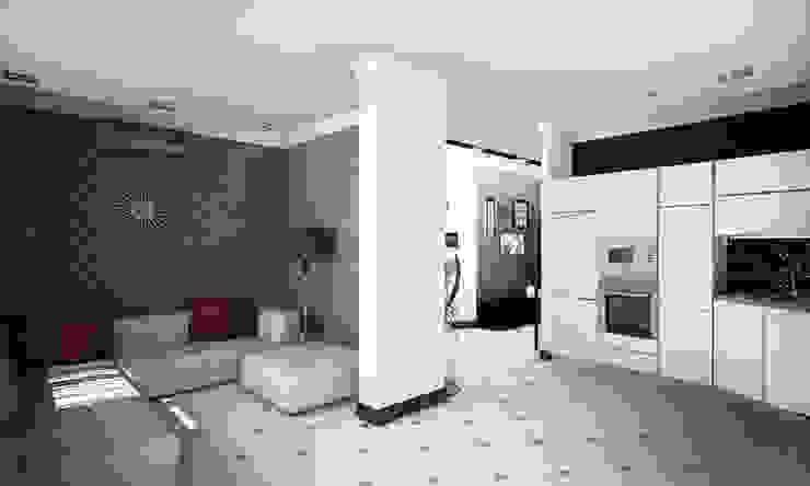 Проект интерьера трехкомнатной квартиры Гостиная в стиле модерн от Гурьянова Наталья Модерн