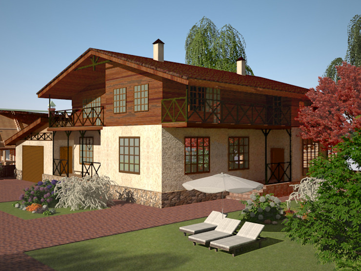 Проект индивидуального жилого дома в стиле шале: Дома в . Автор – Гурьянова Наталья,