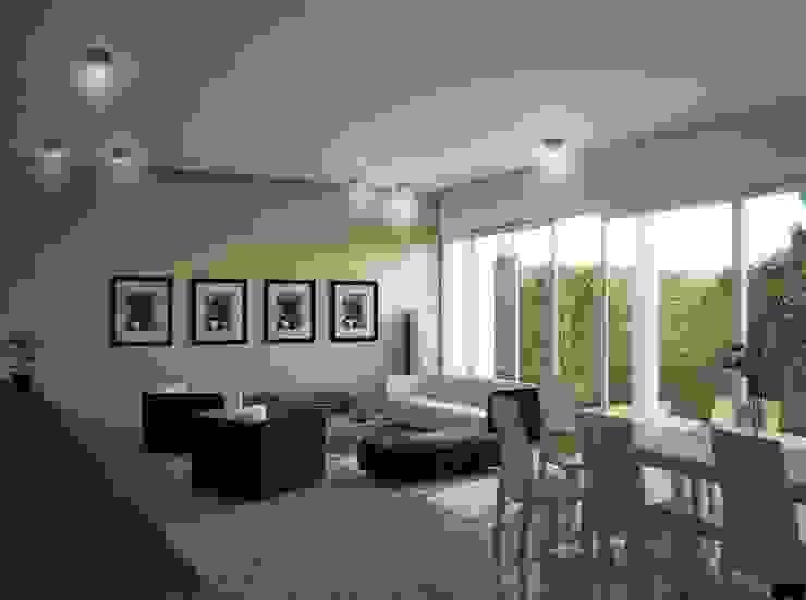 Casa X Salones modernos de REA + m3 Taller de Arquitectura Moderno