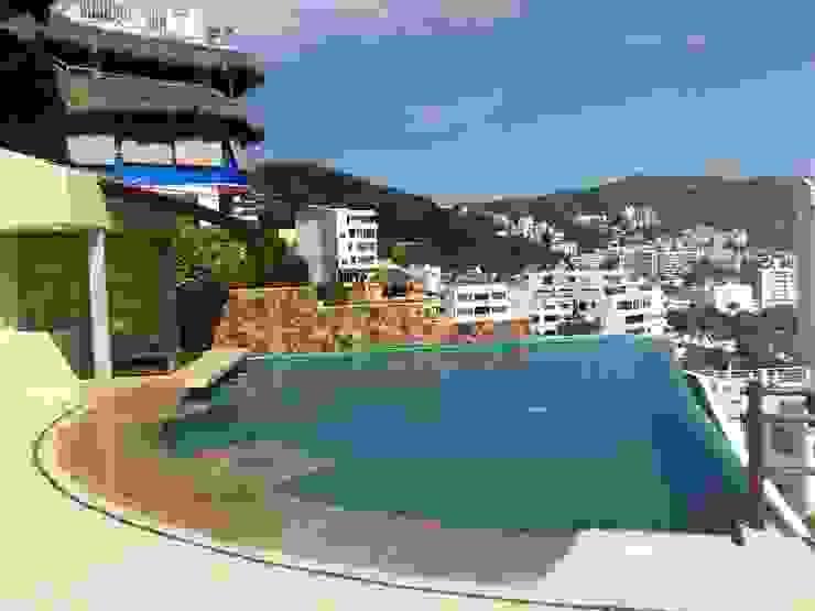 Alberca y Bar Mojado ARQUELIGE Piscinas de estilo tropical