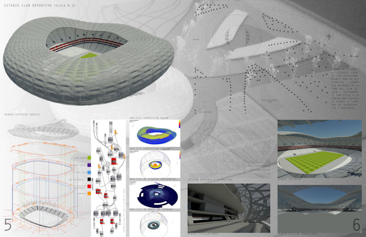 Propuesta estadio CDT Estadios de estilo moderno de Arquitectura Libre Moderno