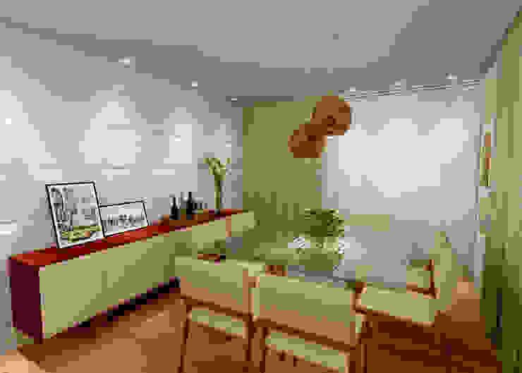 Sala de Estar e Jantar - RJ Salas de jantar modernas por Konverto Interiores + Arquitetura Moderno