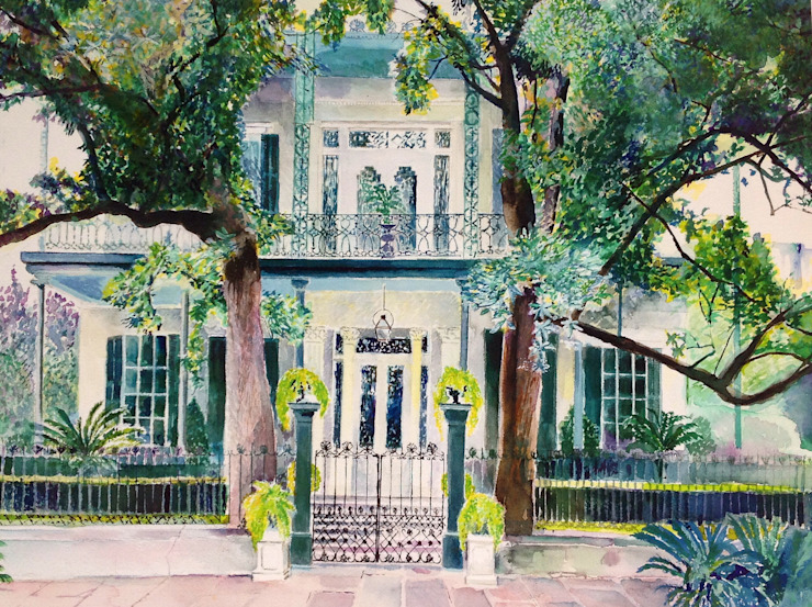 Mansion, New Orleans, Garden District. di Valerie Cook House Portraits Coloniale